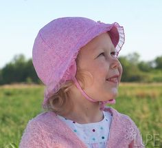 Baby girl hat summer pink cotton fabric toddler sun by Lupeworks, $26.00