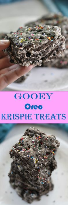 """Gooey Oreo Krispie Treats 3 Ingredient Gooey Oreo Krispie Treats dessert recipe, or """"Cookies and Cream Bars"""", is your favorite childhood treat loaded with chunks of Oreo! Perfect for the holidays or birthdays! Just Desserts, Delicious Desserts, Dessert Recipes, Rice Crispy Treats, Krispie Treats, Rice Krispies, Healthy Chocolate, Chocolate Recipes, Cereal Treats"""
