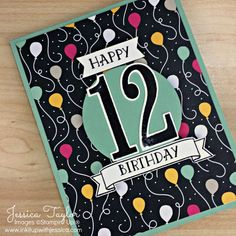 Fun idea for a handmade 12th Birthday Card. Made with the Number of Years stamp set & It's My Party Paper from Stampin' Up!