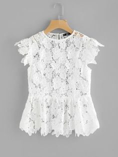 Shop See Through Floral Guipure Lace Top online. SheIn offers See Through Floral Guipure Lace Top & more to fit your fashionable needs. Lace Top Outfits, Casual Outfits, Dressy Tops, Blouse Outfit, Lace Dress, Lace Peplum, White Peplum, Peplum Blouse, Collar Blouse