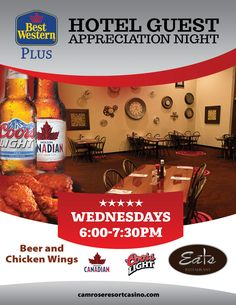 Staying with us on Wednesdays? Enjoy complimentary beer and chicken wings (included in the cost of your room) from 6 to 730 pm in Eats Restaurant.
