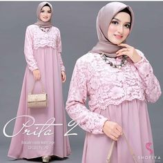 Prita Maxi Vol 2 pinky baby Bahan Brukat Mix Mosscrepe Size all size fit L . Muslim Fashion, Ootd Fashion, Fashion Dresses, Womens Fashion, Dm Instagram, Model Kebaya, Dress Brokat, Kebaya Muslim, Sewing Blouses