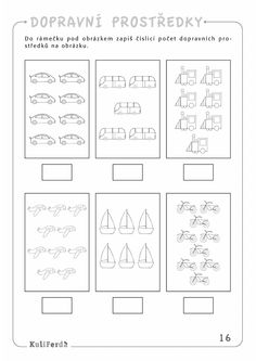 Transportation Preschool Activities, Transportation Worksheet, Transportation Theme, Preschool Math, Preschool Worksheets, Kindergarten Activities, Activities For Kids, Cute Easy Drawings, English Lessons