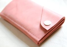 WANT!!!!!!!!! Leather iPhone Wallet The Data Dave in Bubble Gum by RobbieMoto, $52.00