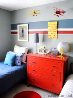 Cam wants a grey room! So great way to bring in a bit of color!