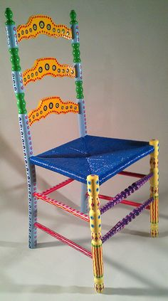 Hand Painted Furniture Colorful Crazy Ladder Back by LisaFrick, $225.00