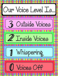 FREE Voice/Noise Level Chart (with arrows! Woo!)