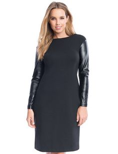 Studio Faux Leather Sleeve Dress from eloquii.com