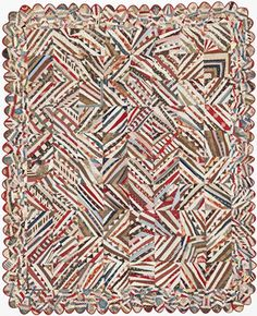"""Barbara Brackman's MATERIAL CULTURE - """"...string quilt from the 1880s or 90s with a scalloped edge bound with a contrasting strip."""""""