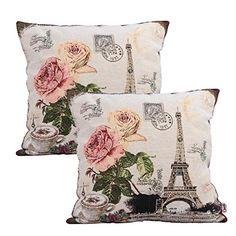 Queenie® - 2 Pcs of Cushion Cover Decorative Throw Pillow Case Tapestry Polyester Pillowcase 18 X 18 Inch 45 X 45 Cm (Eiffel Tower of Paris) Queenie Wong http://www.amazon.com/dp/B011FGWKQE/ref=cm_sw_r_pi_dp_ENIawb1340WRD