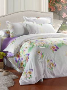 Pretty white with purple bedspread