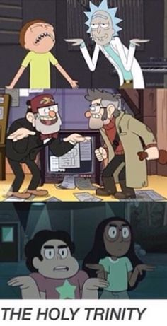 Rick & Morty, Gravity Falls and Steven Universe-LOL! Gravity Falls Funny, Gravity Falls Comics, Gravity Falls Art, Desenhos Cartoon Network, Bd Art, Fall Memes, Steven Universe Funny, Fandom Crossover, Cartoon Crossovers