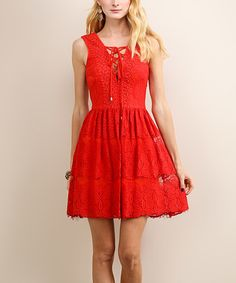 84fe0ddd2085 Look at this Soiéblu Rose Red Lace Sleeveless Dress on  zulily today! Pizzo  Rosso