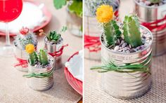 Tin can cacti - table decor during event then they become guest favors. Cute