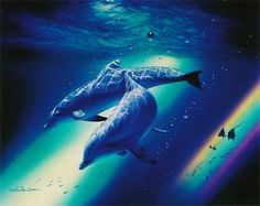 dolphins Photo: dolphins and rainbows. This Photo was uploaded by Dolphin Photos, Dolphin Art, Orcas, Dauphin Rose, Beautiful Sea Creatures, Underwater Painting, Ocean Wallpaper, Under The Sea, Animal Photography