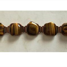 5 Stone Tiger Eye Bracelet  Dimensions +/- :  20cm  Length  x  2,5 cm x 1cm     Weight +/- :  57 g total