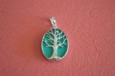 925 Sterling Silver Tree of Life Pendant with Inlay Reconstructed Stones