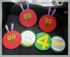 Unsere Raupe Nimmersatt-Einladungen zum 4.Geburtstag. Our very hungry caterpillar invitation.
