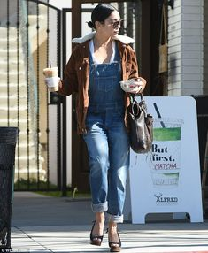 Fun in the sun: Vanessa toted her belongings in a large chocolate brown leather Chloe handbag, while sheltering her eyes from the Californian sun with a pair of aviator shades