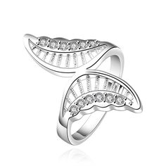 LEKANI+YUEYIN+Simple+Butterfly+Shape+Zircon+Inlaid+Ring+Silver+Plated