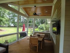 Screen Porch Electrical OptionsOur base price includes installing the ceiling fan of your choice, 2 flood lights and one GFIC outlet. We provide electrical options for TVs, speakers and just about anything you can imagine.
