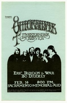 SAT FEB 14, 1970 SACRAMENTO MEMORIAL AUDITORIUM CONCERT: QUICKSILVER MESSENGER SERVICE, ERIC BURDON & WAR, BO DIDDLEY POSTER BY RICK GRIFFIN Produced by Strangewinds THIS IS A PHOTO COPY. ORIGINAL IS FRAMED, GREAT CONDITION. APPRAISED AT ANTIQUE ROADSHOW. My handbill is GOLDENROD color.