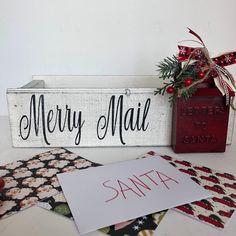 Christmas Signs Wood, Christmas Art, Christmas Ideas, Christmas Decorations, Santa Mailbox, Merry Mail, Primitive Christmas Decorating, Rustic Wood Box, Metal Mailbox