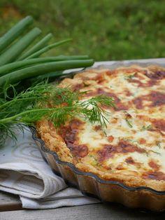 Kermaruusu: Lohipiirakka Pizza Nachos, Vegetable Pizza, Quiche, Salmon, Good Food, Food And Drink, Cooking Recipes, Bread, Vegetables