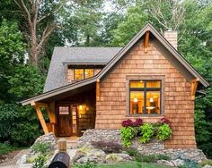 Love the irregular rock work an porch! The Nest - traditional - Exterior - Other Metro - Alchemy Design Studio Tyni House, Tiny House Cabin, Cute House, Tiny House Living, Cabin Homes, House Floor, Tiny Homes, Small Cottages, Cabins And Cottages