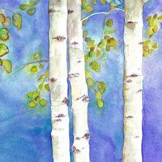 Watercolor aspens 7x7