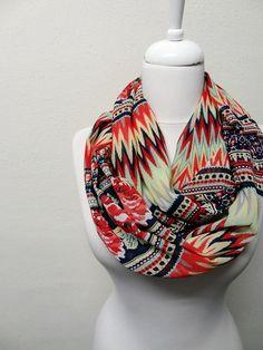 Flowers Chevron Soft Chiffon Infinity scarf, Zig Zag Inca Maya aztec Pattern, Circle scarf, scarves, spring - fall - summer fashion