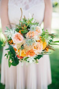 Garden rose bridal bouquet | Photo by Annie McElwain | Read more - http://www.100layercake.com/blog/?p=78950 #wedding #ojai #california #bouquet