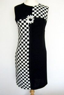 1960′s vintage dress black and white checked