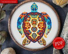 Mandala Turtle Cross Stitch Pattern for Instant Download - 172| Lovely Cross Stitch| Room Decor| Needlecraft Pattern| Easy Cross Stitch
