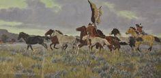 Native Art : Ron Stewart, Surprise Raid Water Color, Western Artist, Ron Stewart Opaque Water Color Painting, Artist's Remarque, Signed, #413