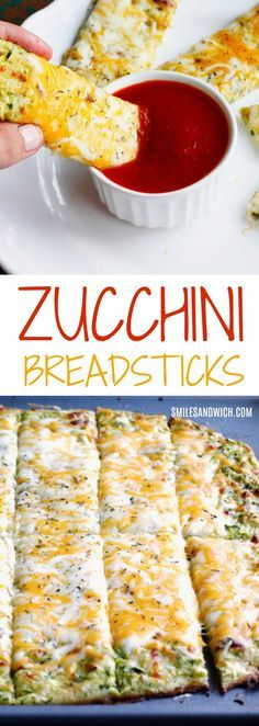 5-Ingredient Cheesy Zucchini Breadsticks - healthier than normal breadsticks and a great zucchini recipe to use up your garden produce!