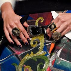 Borrow his rings! Stacked #Man #Rings for the lady at #FaustoPuglisi Fall Winter 2016. #Fall2016 #FW16 #AW16