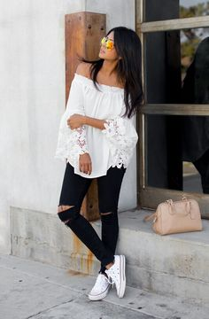 Crochet Bell Sleeves Top: Lord and Taylor ( available in black too)/ Jeans: J Brand / Shoes: Converse c/o Kohls / Bag: Coach / Sunnies: Foster Grant Fashion Trend by Walk in Wonderland