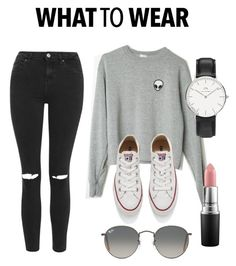 """What To Wear"" by leamorup ❤ liked on Polyvore featuring Topshop, Converse, MAC Cosmetics, Daniel Wellington, Ray-Ban, women's clothing, women's fashion, women, female and woman"