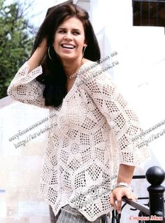 Crochet Blouse with Hexagons