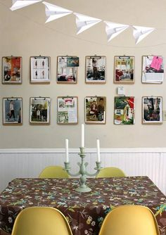 clip board wall to hold and easily change pictures, artwork, etc