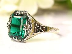 Vintage Engagement Ring 2.62ct Synthetic Emerald Ring 10K Two Tone Gold Art Deco Alternative Engagement Ring Antique Wedding Ring Size 6!