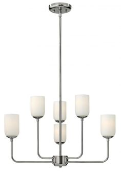 Six Light Etched Opal Glass Polished Nickel Up Chandelier : SKU FVCT | Hansen Lighting