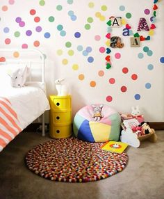 Colourful kids room. The wall. the rug.