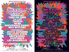 """Panache Booking SXSW Showcase   Friday, March 20, 2015   1pm-2am   Hotel Vegas: 1500 E. 6th St., Austin, TX 78702   Live music showcase on 4 stages; FREE unofficial showcase from 1-7pm; official showcase from 7pm-2am requires badge/wristband or """"small cover""""   Details: https://www.facebook.com/events/395190660641881/"""