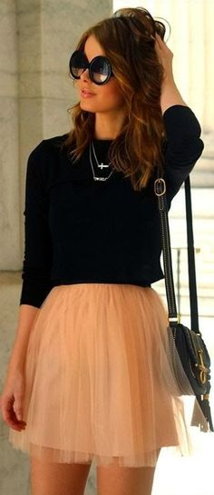 Black sweater and light colored skirt fashion combo. so into tulle skirts right now