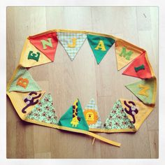 Here is #jungle themed #bunting made for a #baby boy. All the letters on my bunting are hand cut and hand sewn. Visit www.made-by-Gemma.co.uk or like me on Facebook :) #personalised #handmade Make And Sell, How To Make, Bunting, Hand Sewn, Pot Holders, Baby Boy, Felt, Letters, Facebook