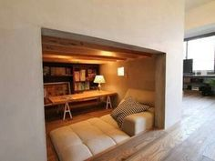 Mini room for cushion area. In edge, open to room, not set into room. Fairy lights, plus reading lights. Windows around door? Room Interior, Interior Design Living Room, Eco Deco, Japanese Interior, Home Office Design, Dream Rooms, Home Decor Furniture, Minimalist Home, House Rooms
