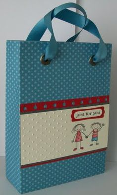 Gift bag Tutorial made from a sheet of 12x12 Scrapbook Paper-Great idea for using up patterned paper (we all have a stash, don't we...)