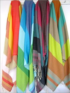 Well-Thought Hostess Gifts from Veranda Magazine: bright striped Fouta towels